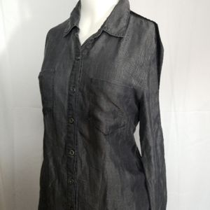 Jordache chambray button down blouse with  suede